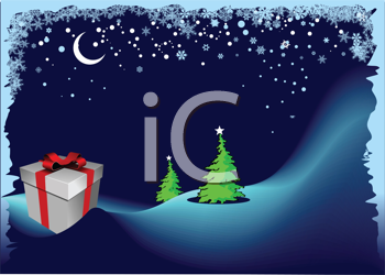 Royalty Free Clipart Image of a Christmas Tree and a Package in a Winter Scene