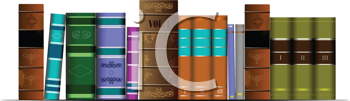 Royalty Free Clipart Image of a Shelf of Books