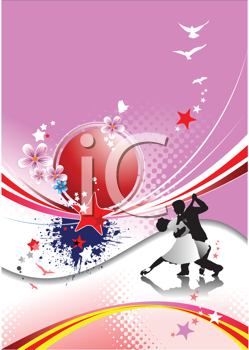 Royalty Free Clipart Image of a Couple Dancing on a Pink Background