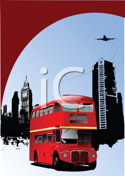 Royalty Free Clipart Image of an English Bus in Front of Buildings and a Plane Overhead