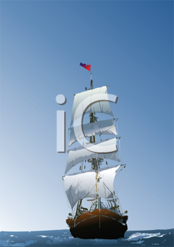 Royalty Free Clipart Image of a Sailing Vessel