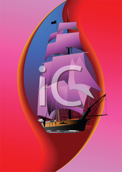 Royalty Free Clipart Image of a Ship With Pink Sails