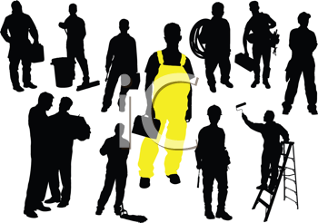 Royalty Free Clipart Image of Twelve Workers