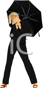 Royalty Free Clipart Image of a Woman With an Open Umbrella