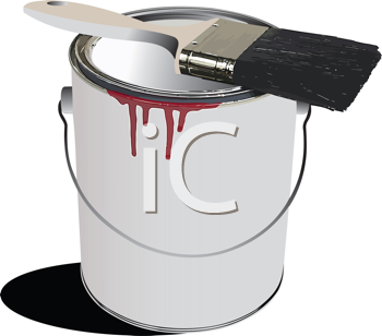 Royalty Free Clipart Image of a Paint Can and Brush