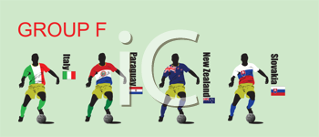 Royalty Free Clipart Image of Group F Soccer Players