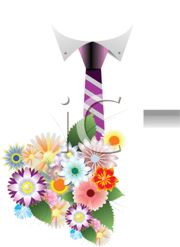 Royalty Free Clipart Image of a Shirt, Tie and Bouquet of Flowers