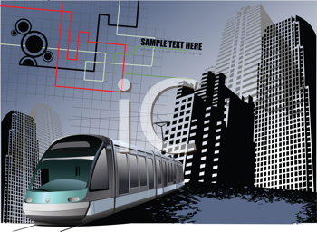 Royalty Free Clipart Image of an Urban Background With a Commuter Train