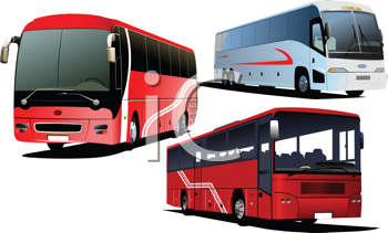 Royalty Free Clipart Image of Three Buses