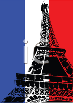 Royalty Free Clipart Image of the Eiffel Tower on a French Flag