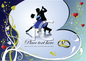 Royalty Free Clipart Image of a Romantic Dance With Wedding Bands in the Corner