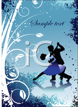 Royalty Free Clipart Image of a Greeting Card With a Couple Dancing