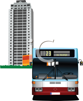 Dormitory and bus. Vector illustration