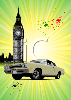 London poster  with Big Ben and fifty old rarity cabriolet image. Closed roof. Vector illustration