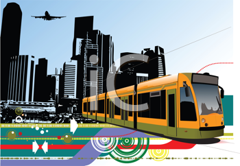 Abstract urban hi-tech background with tram on city background. Vector illustration