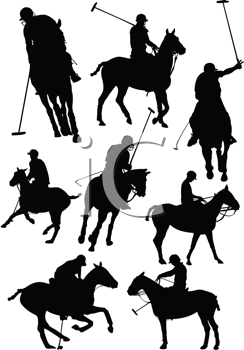 Black and white polo players vector silhouette
