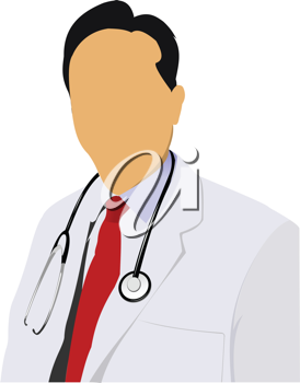 Medical doctor with stethoscope on white  background. Vector illustration