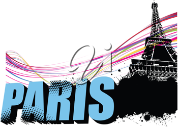 3D word Paris on the Eiffel tower grunge background. Vector illustration