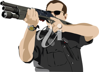 Armed policeman preparing to shoot with automatic rifle. Vector  illustration
