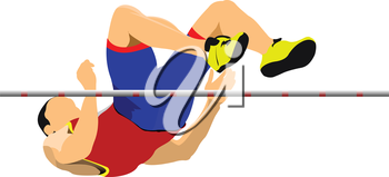 Man high jump. Sport. Track and field. Vector illustration