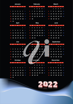 2022 calendar. Can be used as organizer