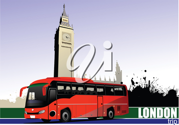 Red tourist bus in London. Coach. Vector illustration