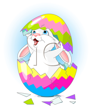 Royalty Free Clipart Image of a Bunny in an Egg