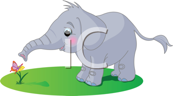 Royalty Free Clipart Image of Baby Elephant Looking at a Butterfly