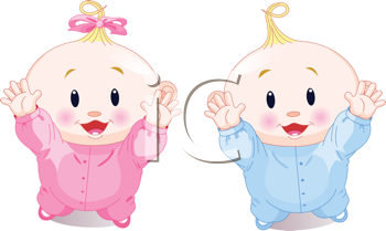 Royalty Free Clipart Image of a Twin Baby Boy And Girl With Their Hands Up