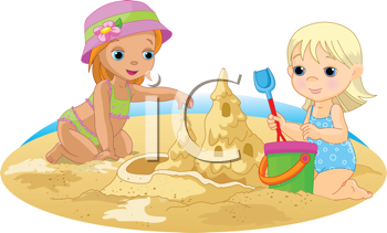 Royalty Free Clipart Image of Two Little Girls Playing in the Sand