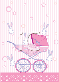 Royalty Free Clipart Image of a Baby Girl Arrival Announcement Card