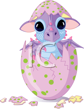 Royalty Free Clipart Image of a Cute Baby Dragon Hatched From an Egg