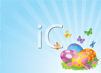 Royalty Free Clipart Image of an Easter Background With Easter Eggs on Grass