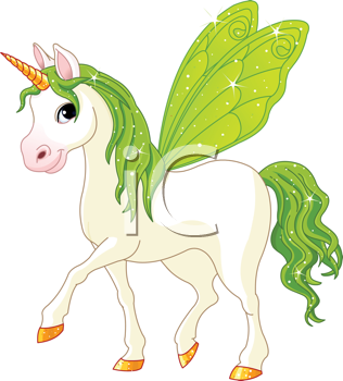 Royalty Free Clipart Image of a Unicorn With Wings