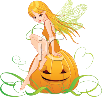 Royalty Free Clipart Image of a Fairy Sitting on a Pumpkin