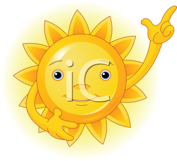 Royalty Free Clipart Image of a Cute Smiling Sun Pointing Up