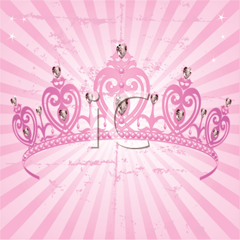 Royalty Free Clipart Image of a Princess Crown on a Radial Grange Background
