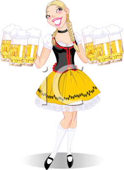 Royalty Free Clipart Image of a Girl in a Dirndl Serving Beer