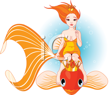 Royalty Free Clipart Image of a Princess Mermaid and a Goldfish