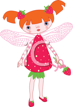 Royalty Free Clipart Image of a Strawberry Ferry