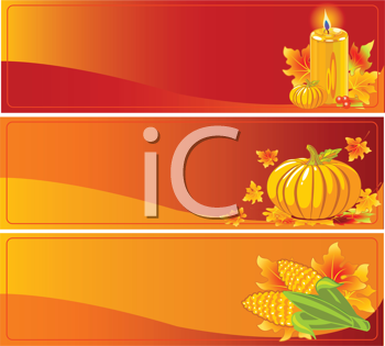 Royalty Free Clipart Image of Three Thanksgiving Banners