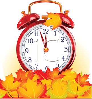 Royalty Free Clipart Image of an Autumn Clock