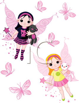 Royalty Free Clipart Image of Two Fairies and Butterflies