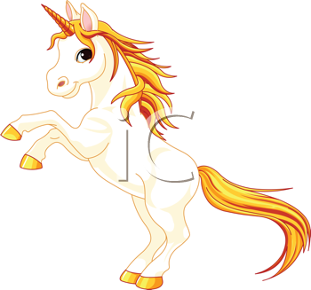 Royalty Free Clipart Image of a Unicorn Rearing Up
