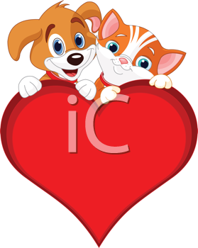 Valentine Cat and dog holding sign heart (add your own message)