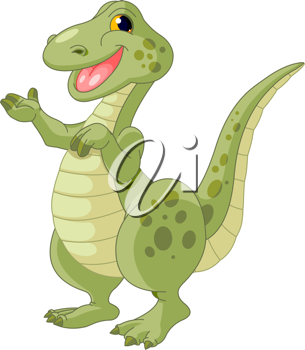 Illustration of cute presenting dinosaur