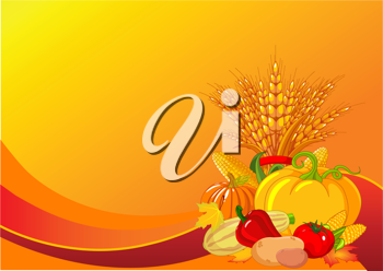 Seasonal design with plump pumpkins, wheat, vegetables and autumn leaves
