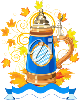 Oktoberfest Celebration design with mug and autumn leaves