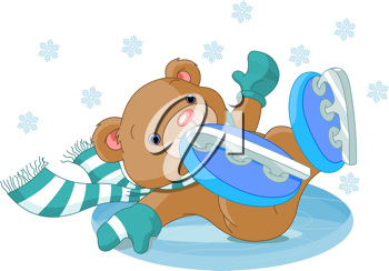 Illustration of cute bear fell to the ice rink