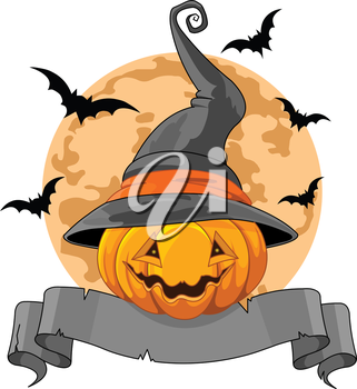 Royalty Free Clipart Image of a Pumpkin in a Witch Hat